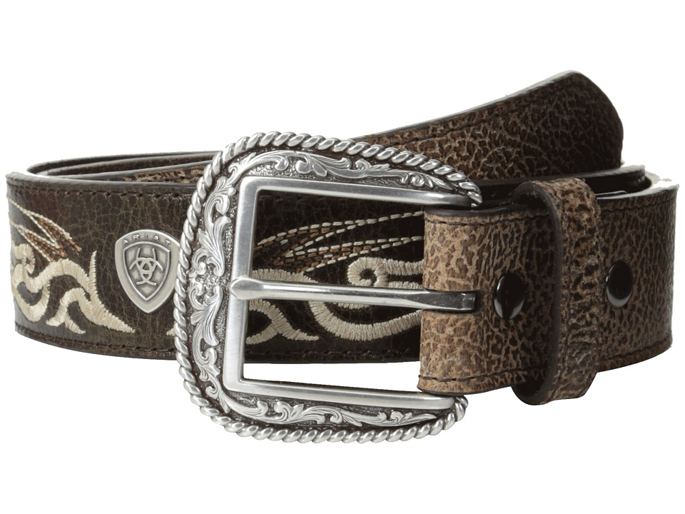 Ariat - Winged Embroidered Belt (Brown) Men's Belts