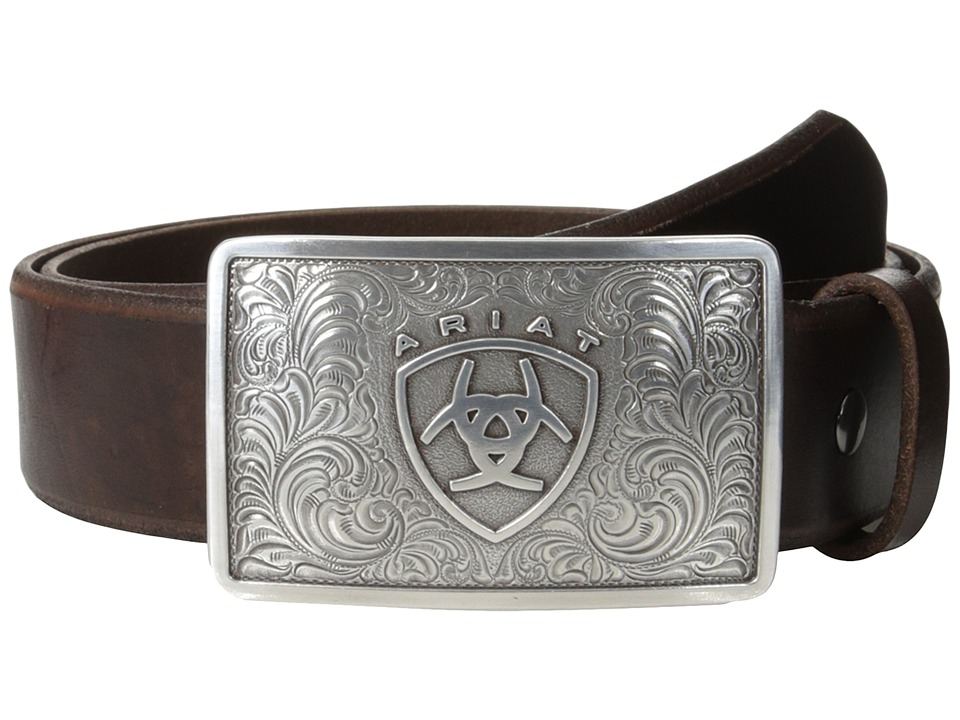 Ariat - Rectangle Filagree Shield Buckle Belt (Brown) Men's Belts