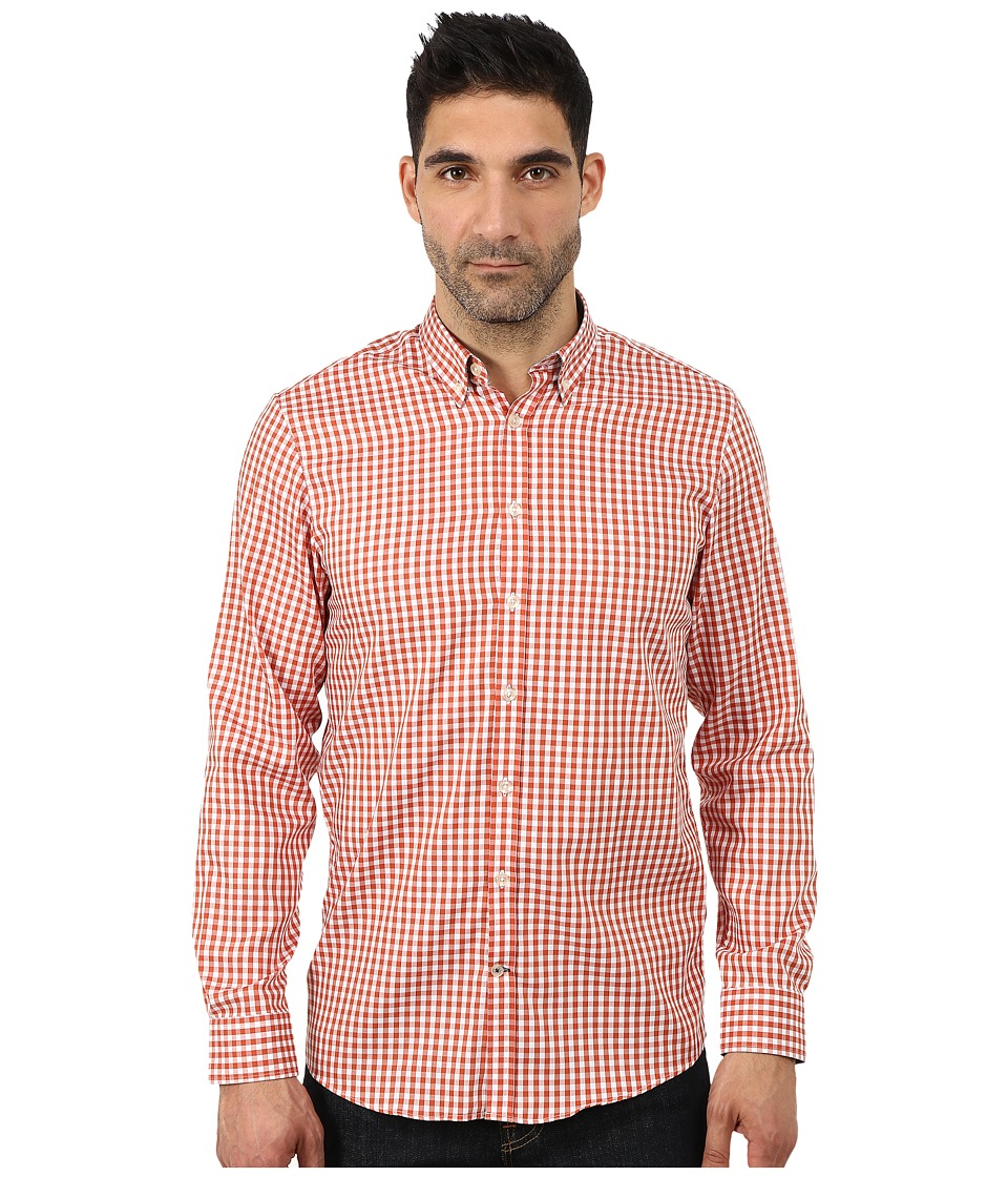 Lindbergh - Checked Long Sleeve Woven (Orange) Men's Clothing