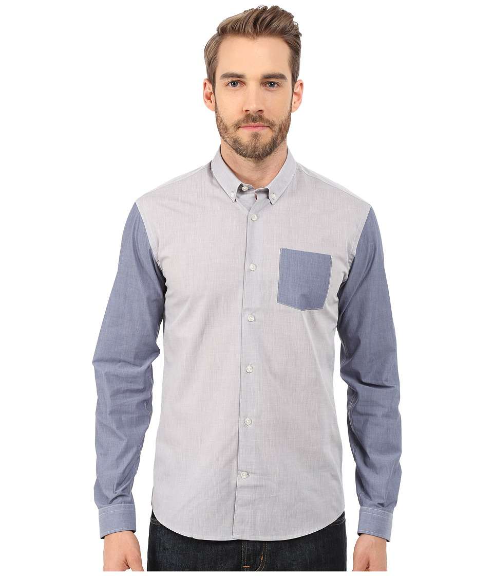 Lindbergh - Long Sleeve Shirt w/ Contrast (Grey) Men's Clothing