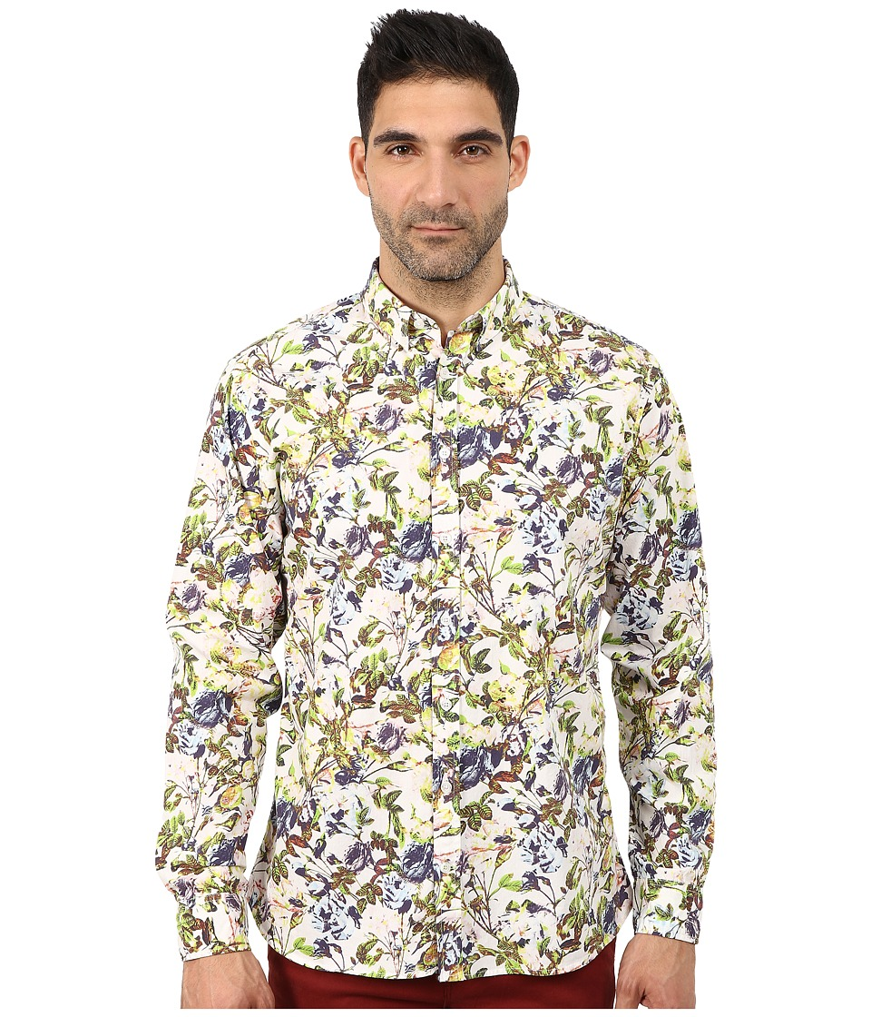 Lindbergh - Flower Printed Long Sleeve Woven (Bright Green) Men's Clothing