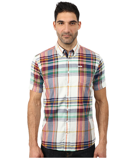 Lindbergh - Mega Check Short Sleeve Shirt (Green) Men's Clothing