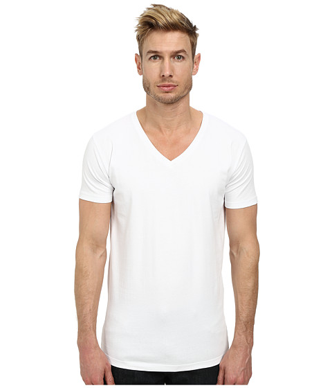 Lindbergh - Stretch V-Neck Tee (White) Men