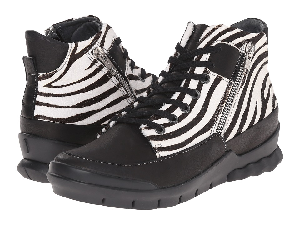 Wolky - Fast (Black Velvet Leather/Zebra) Women