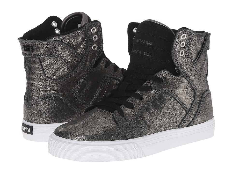 Supra Kids Skytop (Little Kid/Big Kid) (Pewter Leather/Black Canvas) Boys Shoes