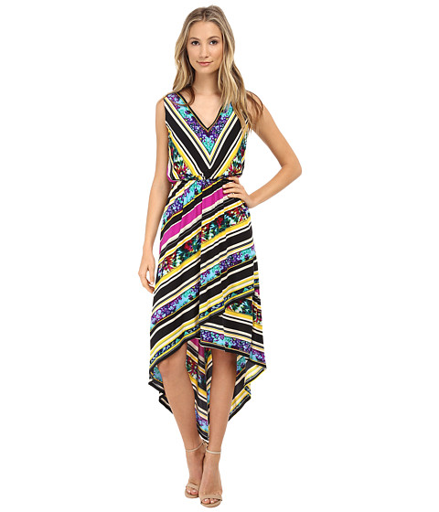 Sangria - Stripe Floral Print Maxi Dress (Purple/Multi) Women