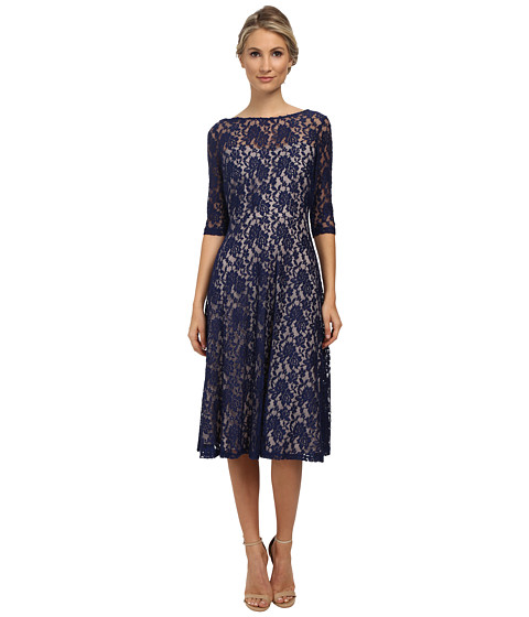 Sangria - 3/4 Sleeve All Over High-Low Dress (Navy/Putty) Women