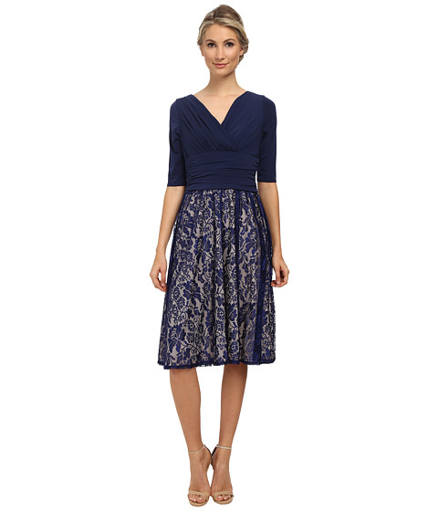 Sangria - V-Neck Wrap Top w/ Lace Skirt (Navy/Putty) Women's Dress