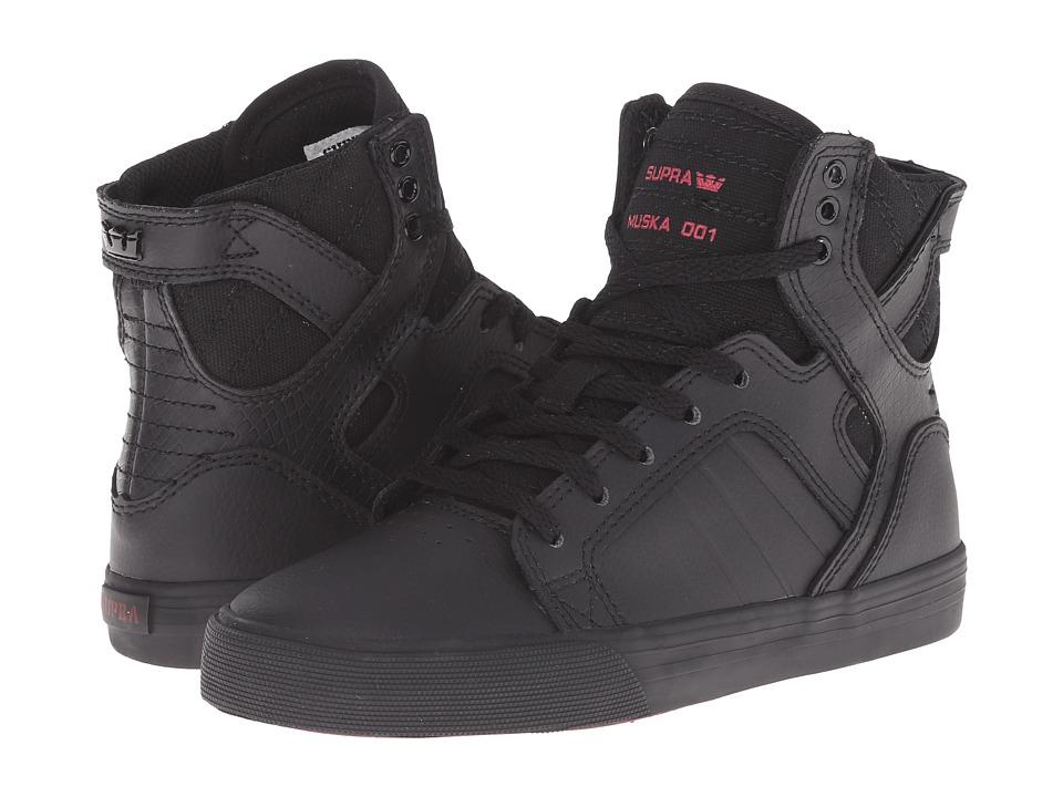 Supra Kids - Skytop (Little Kid/Big Kid) (Black Leather) Boys Shoes