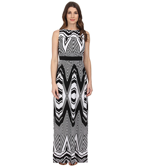 Sangria - Geo Print Maxi Dress w/ Inset Waist (Black/Ivory) Women