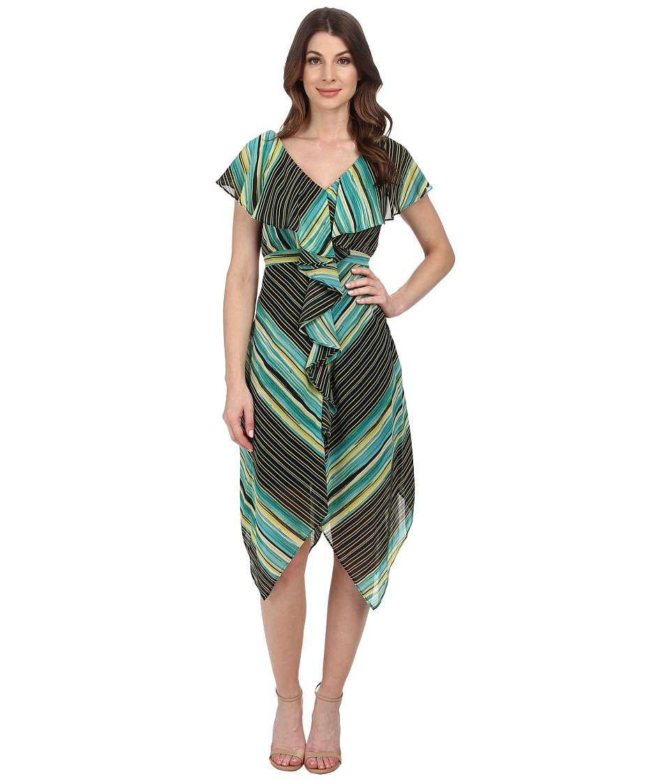 Sangria - V-Neck Stripe Print Dress (Teal/Multi) Women's Dress