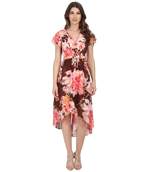 Sangria - V-Neck Floral Print Dress (Brown/Pink) Women