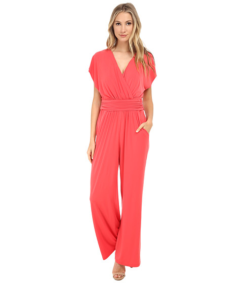 Sangria - V-Neck Solid Jumpsuit w/ Pockets (Coral Reef) Women's Jumpsuit & Rompers One Piece