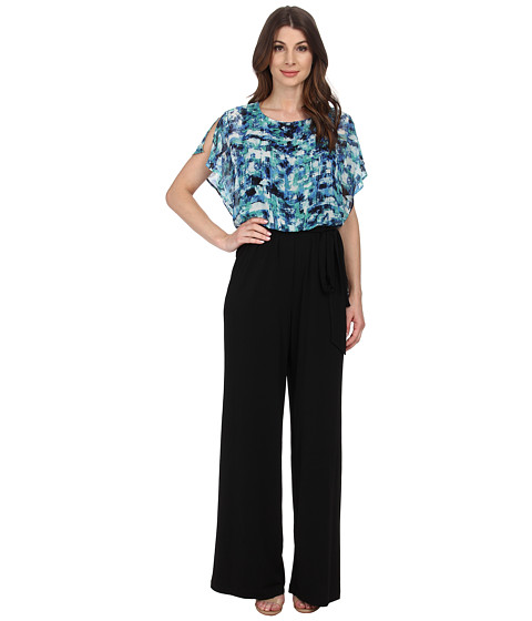Sangria - Floral Print Blouson Jumpsuit (Black/Blue) Women's Jumpsuit & Rompers One Piece