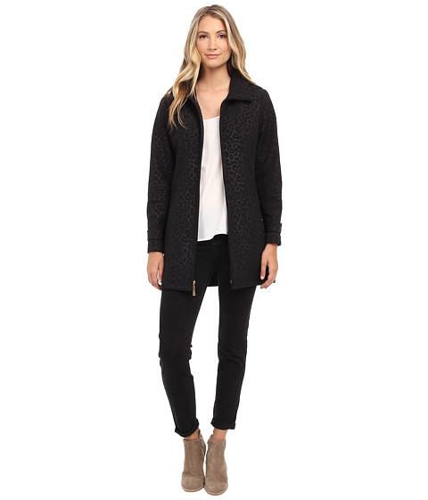 Ellen Tracy - Zip Front Hooded Soft Shell Coat (Black Leopard) Women
