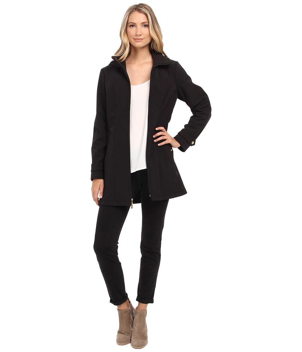 Ellen Tracy - Zip Front Hooded Soft Shell Coat (Black) Women's Coat
