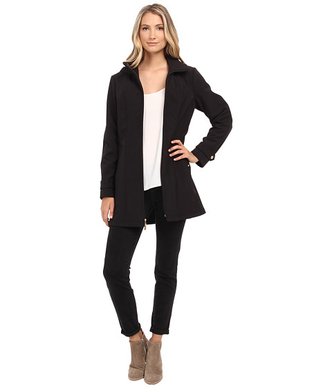 Ellen Tracy - Zip Front Hooded Soft Shell Coat (Black) Women