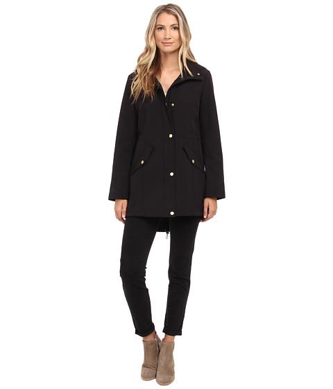 Ellen Tracy - Snap Front Hooded Soft Shell Coat (Black) Women's Coat