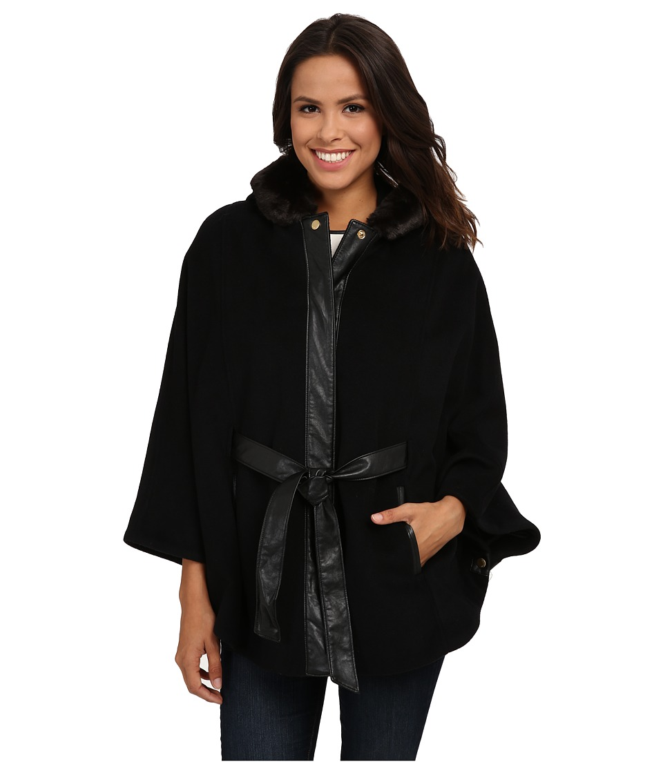 Ellen Tracy - Faux Fur Trim Hooded Cape w/ Faux Leather Belt (Black) Women's Coat
