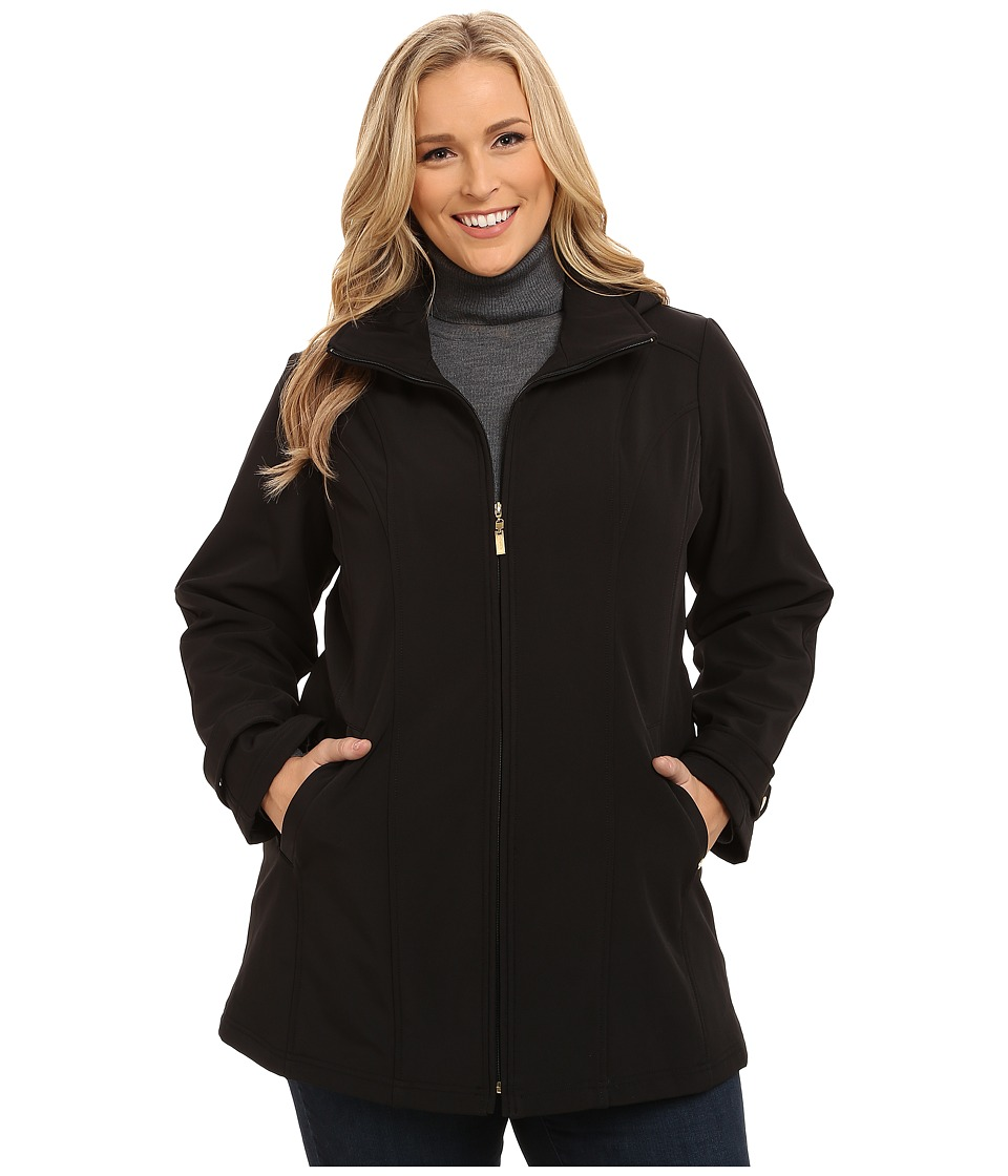Ellen Tracy - Plus Size Zip Front Hooded Soft Shell Coat (Black) Women