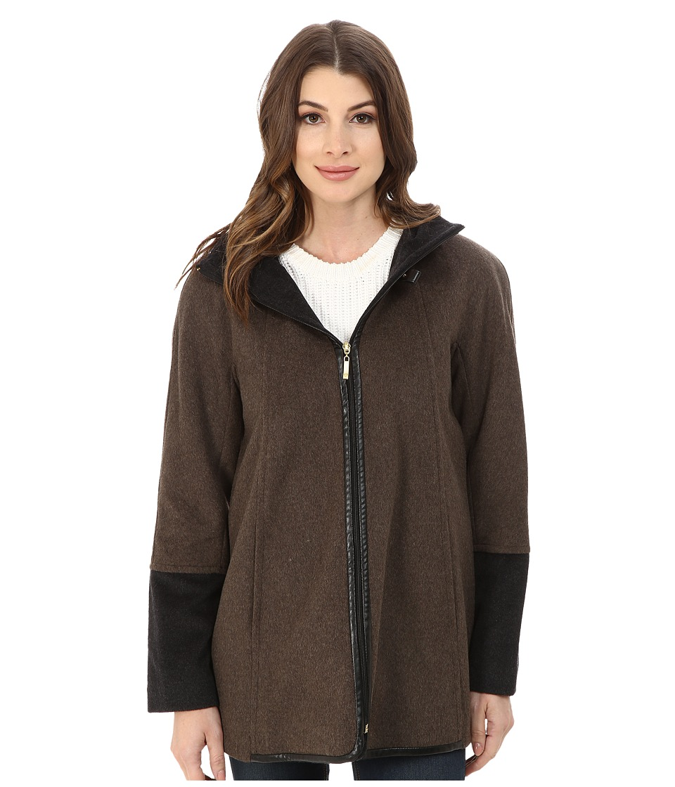 Ellen Tracy - Zip Front Hooded Topper (Mocha) Women's Coat
