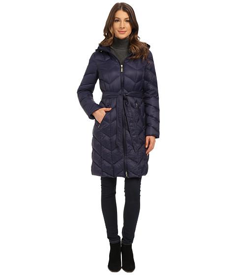 Ellen Tracy - Zip Front Hooded Walker (Navy) Women's Coat