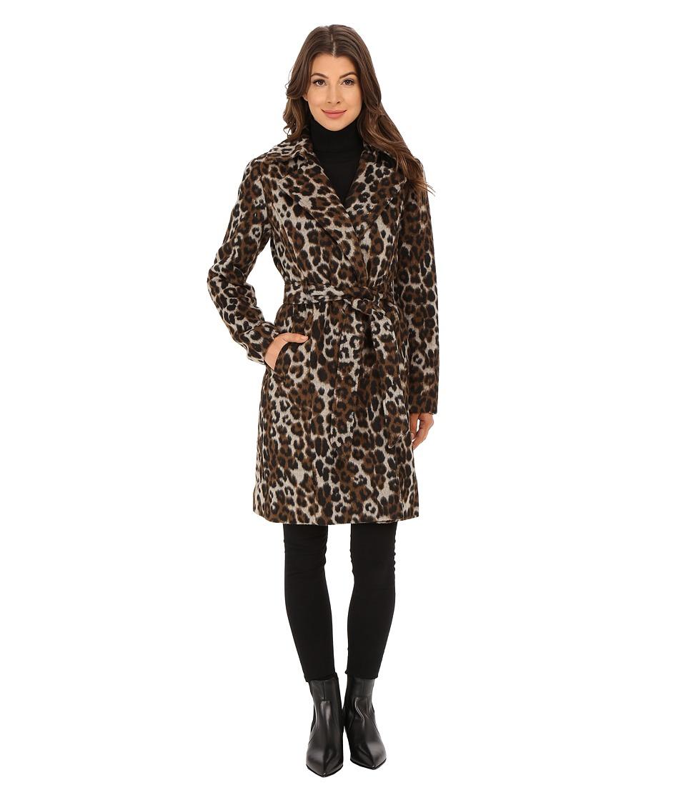 Ellen Tracy - Leopard Printed Wool Belted Wrap (Leopard) Women's Coat