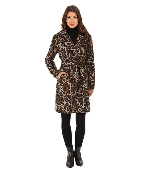 Ellen Tracy - Leopard Printed Wool Belted Wrap (Leopard) Women's Coat
