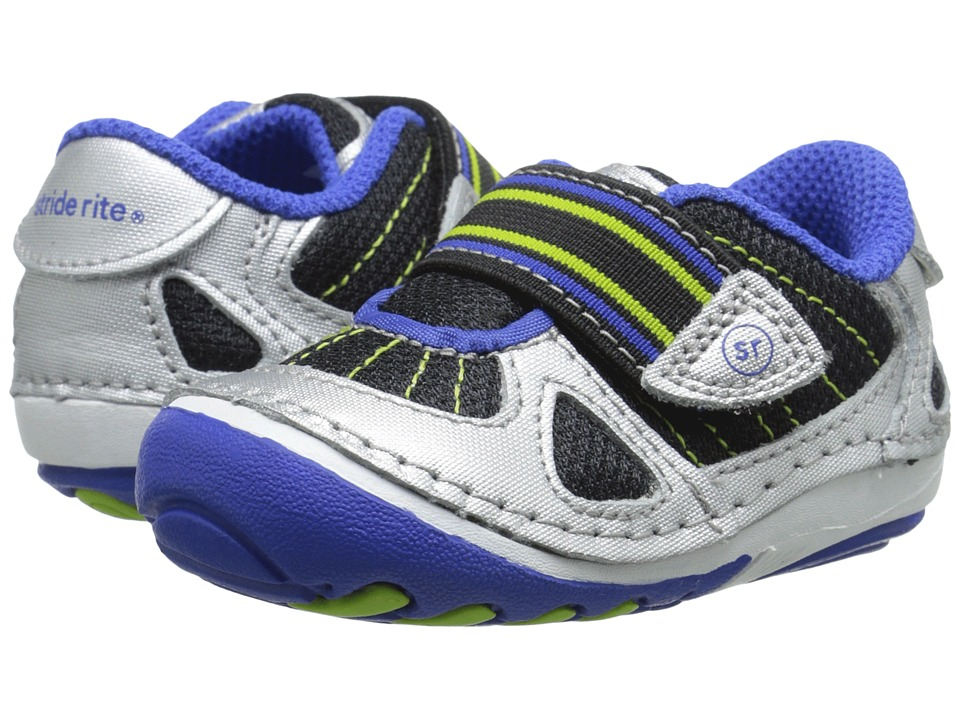 Stride Rite - SRT SM Link (Infant/Toddler) (Silver/Black/Cobalt) Boys Shoes