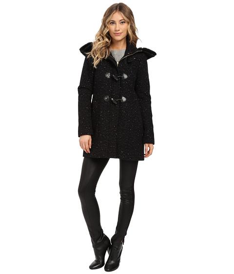 Ellen Tracy - Novelty Wool Walker w/ Faux Fur Trim Hood (Black/Navy) Women's Coat