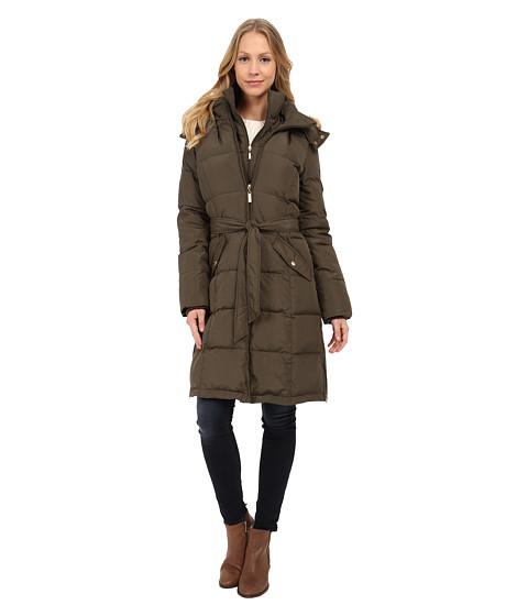Ellen Tracy - Walker Length Belted Trench Down w/ Faux Fur Hood (Olive) Women's Coat