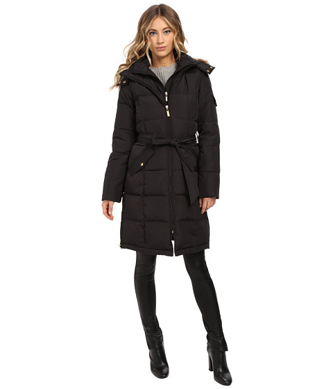 Ellen Tracy - Walker Length Belted Trench Down w/ Faux Fur Hood (Black) Women