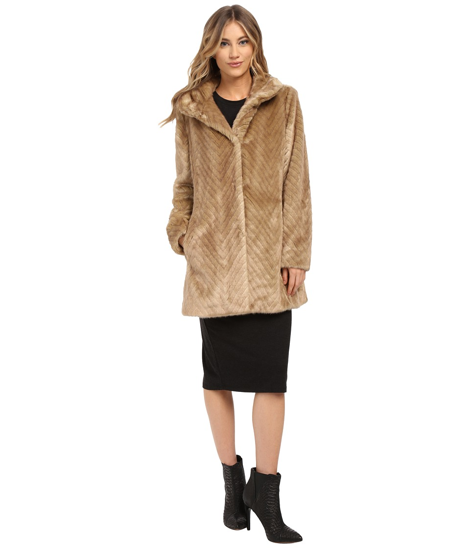 Ellen Tracy - Snap Front Walker w/ Stand Collar (Latte) Women's Coat