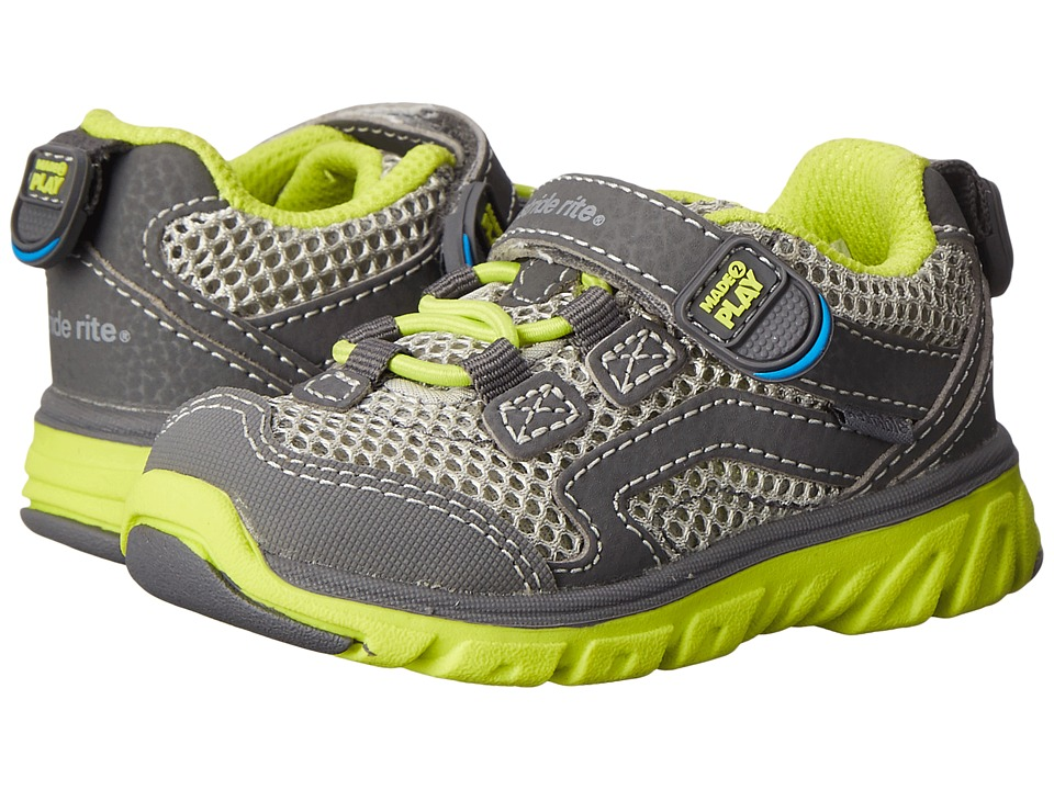 Stride Rite - M2P Jake (Toddler) (Grey/Lime) Boy's Shoes