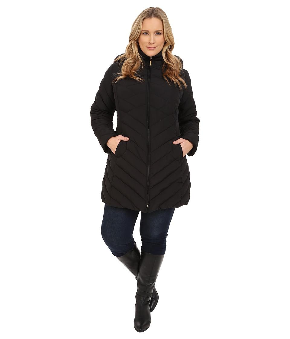 Ellen Tracy Plus Size Zip Front Walker w/ Faux Fur Hood (Black) Women