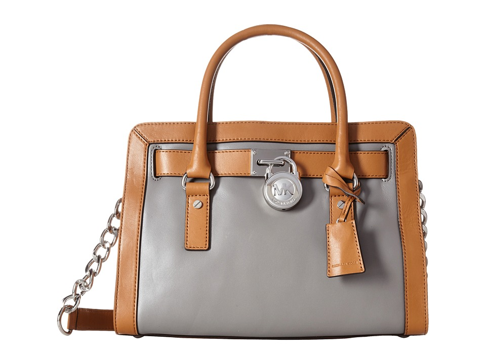 MICHAEL Michael Kors - Hamilton Frame Out East/West Satchel (Steel Grey/Acorn) Satchel Handbags
