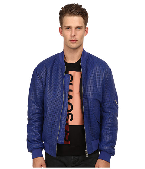 McQ - Leather Bomber (Cobalt/Darkest Black) Men's Coat