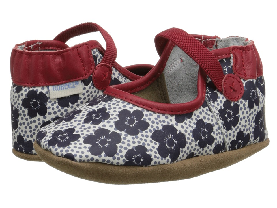 Robeez - Blooming Bella Soft Sole (Infant/Toddler) (Red/White) Girls Shoes