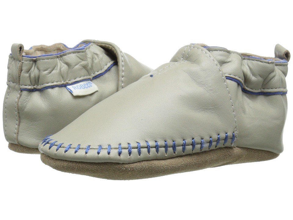 Robeez - Premuim Leather Classic Moccasin Soft Sole (Infant/Toddler) (Grey) Boys Shoes