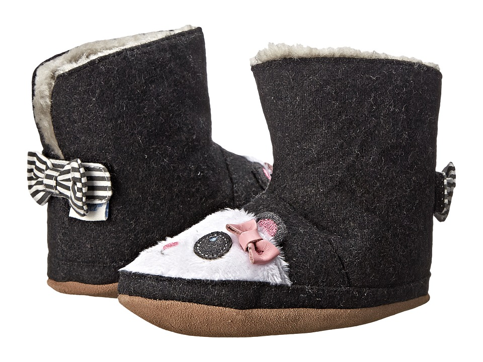 Robeez Panda Bootie Soft Sole (Infant/Toddler) (Black) Girls Shoes