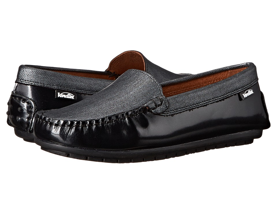 Venettini Kids - 55-Gordy (Toddler/Little Kid/Big Kid) (Black Pearlized Oil/Grey Tweed Leather) Girls Shoes