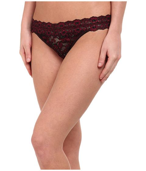 Hanky Panky - Cross-Dyed Signature Lace Original Rise Thong (Black/Cranberry) Women