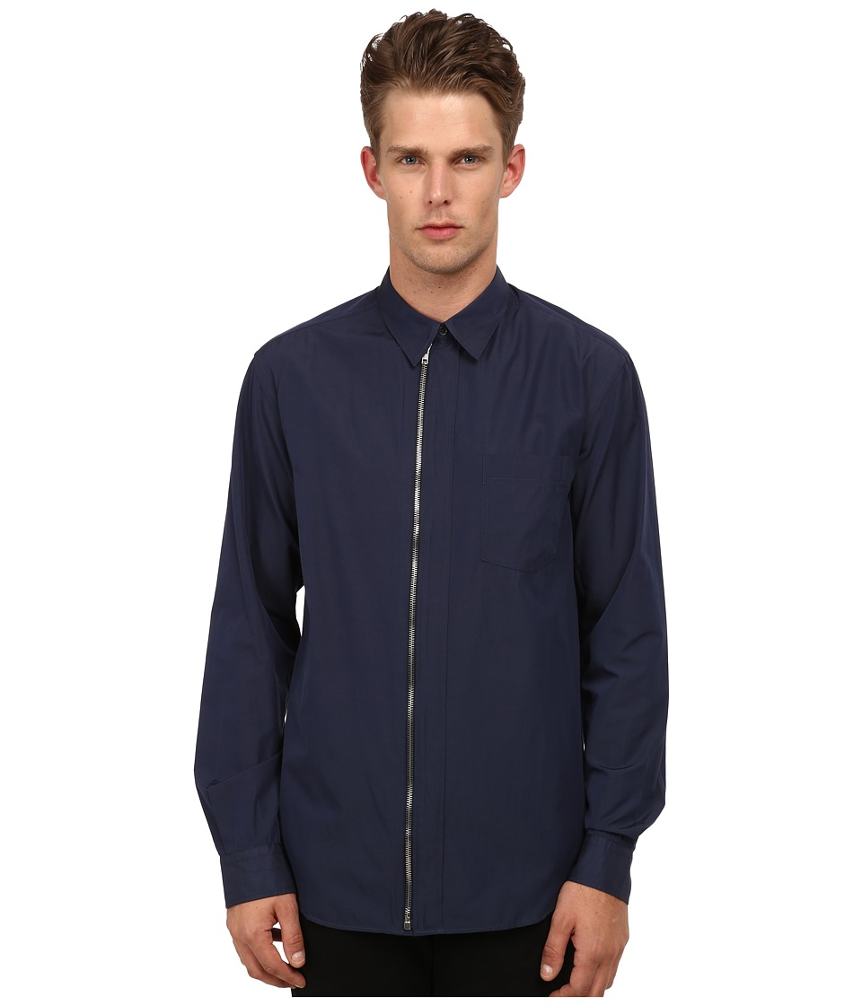 McQ - Zipped Shields Shirt (Dark Navy) Men's Long Sleeve Button Up