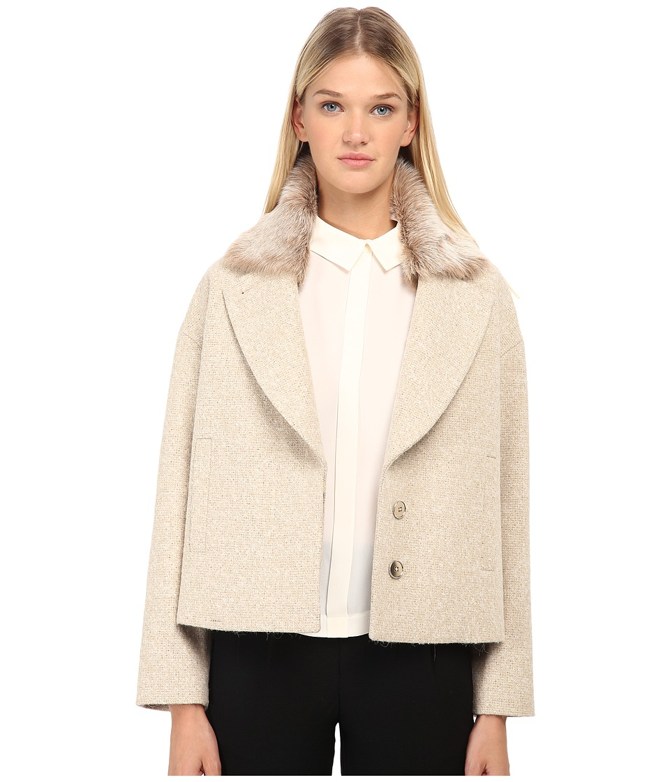 Paul Smith - Jacket w/ Fur Collar (Tan) Girl's Coat