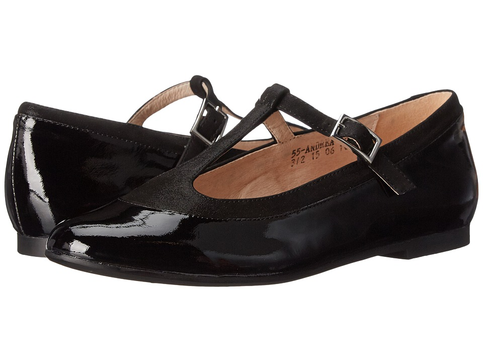Venettini Kids - 55-Andrea (Little Kid/Big Kid) (Black Patent/Black Polvere Suede) Girls Shoes