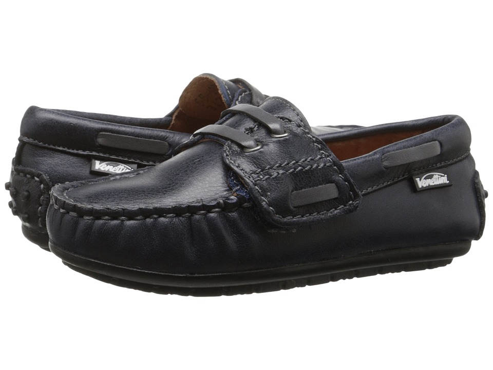 Venettini Kids - 55-Apollo (Toddler/Little Kid) (Navy Shiny Leather/Dark Grey Leather) Boys Shoes
