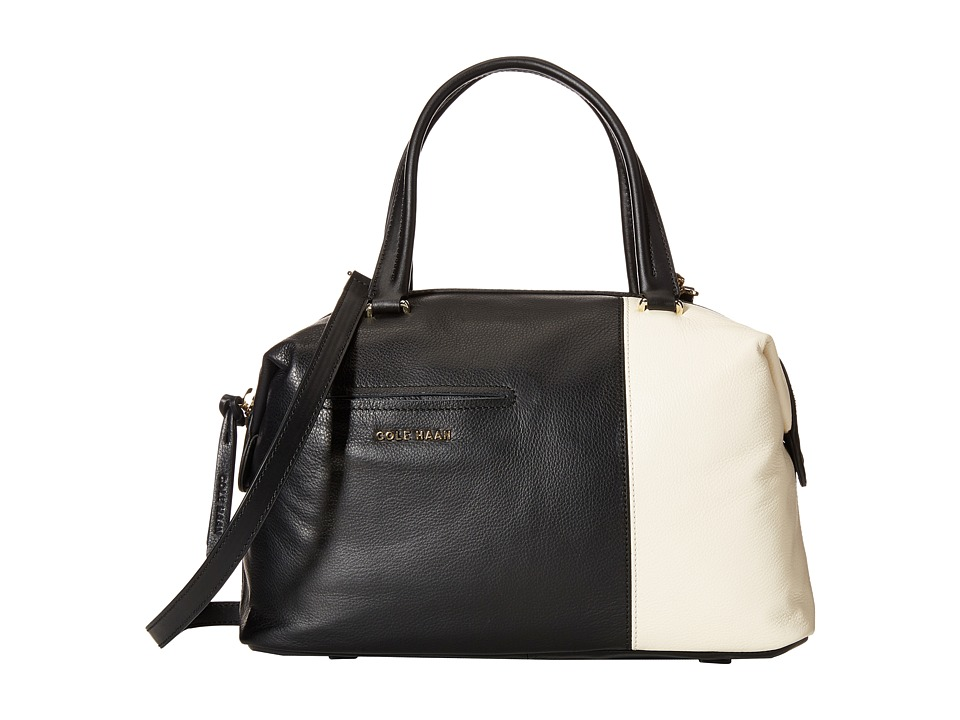 Cole Haan - Omega Large Satchel (Black/Ivory) Satchel Handbags