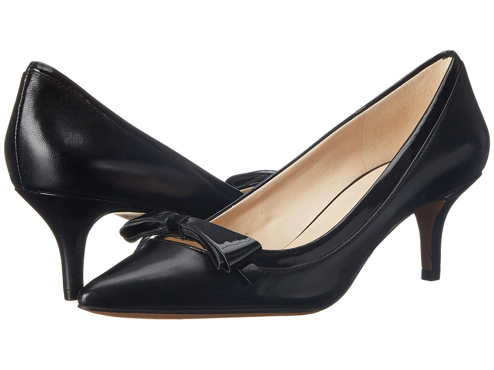 Nine West - Xenos (Black/Black Leather) Women's 1-2 inch heel Shoes
