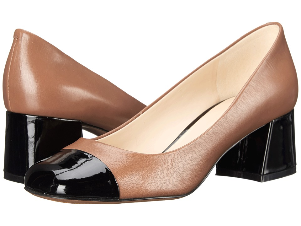 Nine West - Zipzap (Light Brown/Black Leather) Women's 1-2 inch heel Shoes
