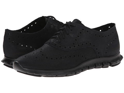 Cole Haan - Zerogrand Wing Oxford (Black Shiny Suede) Women's Shoes